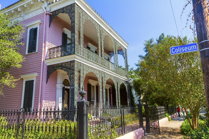 Pink Garden District home in New Orleans